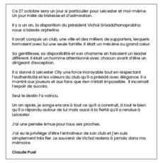 L'hommage de Claude Puel à l'ancien président de Leicester